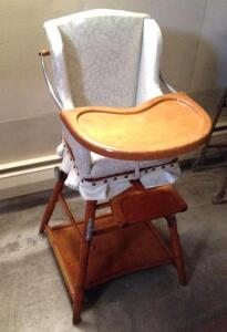 child's folding wooden highchair