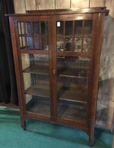 Mission-style oak china cabinet, antique
