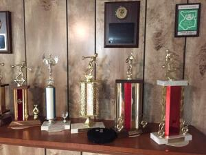 Group of bowling trophies