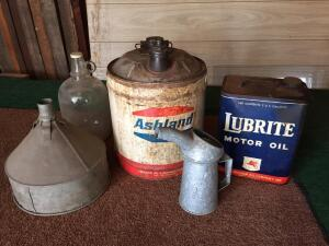 Tractor funnel and oil cans