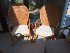 2 fan-back chairs, serving cart & stand