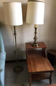 2 cherry end tables, pr. of brass table lamps & Stiffel floor lamp