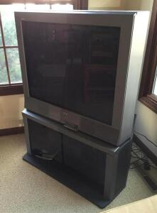 Sony TV with stand and JVC VCR