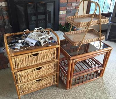 Group of rattan/wicker style stands