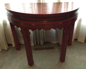 Decorative half-round oriental-style table