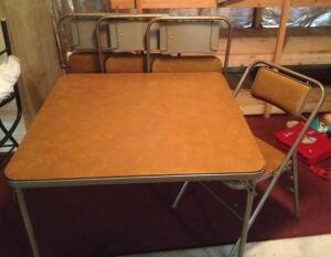 2 card tables & 4 chairs