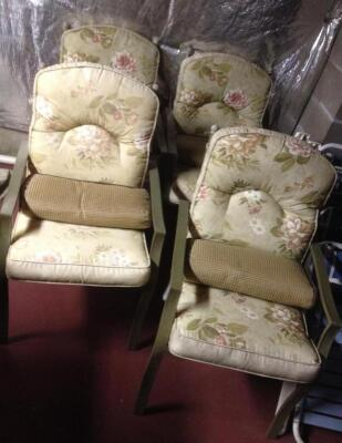 Two sets of patio chairs, chaise lounge & more