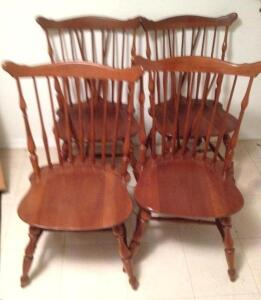 Set of 4 Ethan Allen cherry chairs