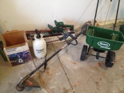 Gas weed trimmer, elect. hedge trimmer, spreader & sprayer
