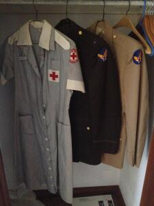 2 military jackets and Red Cross dress