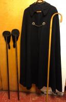 Wool cape, 2 alms bags & shepards crook