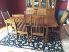 Mission oak table & 6 chairs
