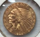 1929 U.S. $2 1/2 Indian gold coin