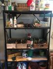 3 Metal Shelves in Garage with Contents of shelves