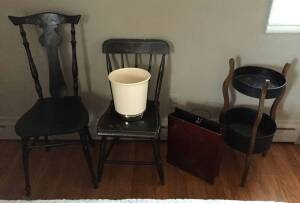 2 Antique Chairs, Round Sewing stand, metal decorative 'bag' & a new waste can