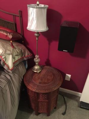 Pair of Oriental Round End Tables & pr. of Lamps