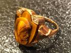 10K Gold ring with tiger eye cameo & 2 small diamonds