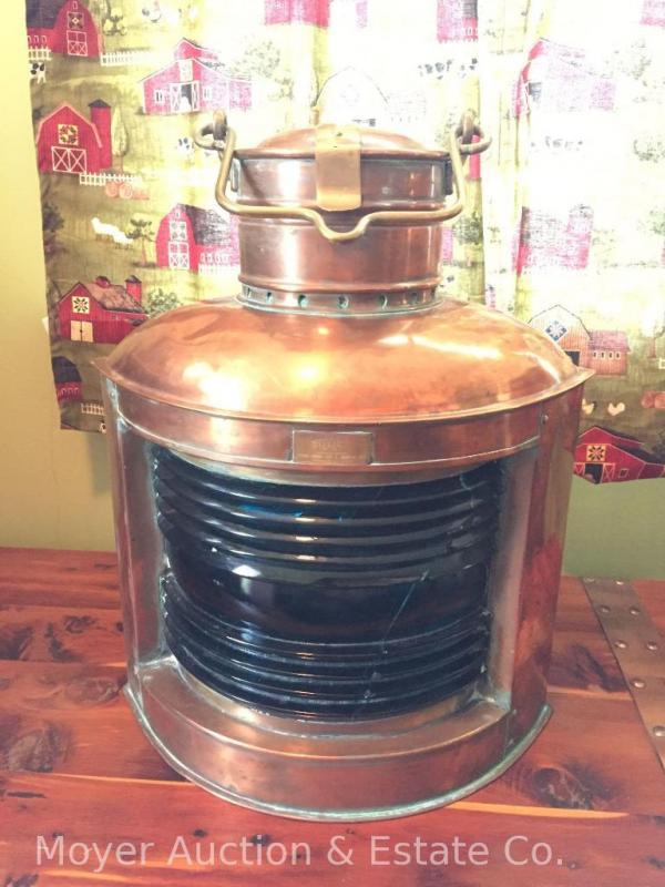 Perko copper marine lamp with oil burner & green glass lense