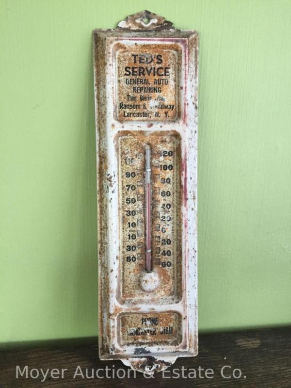Ted's Service Lancaster NY tin advertising thermometer, 13