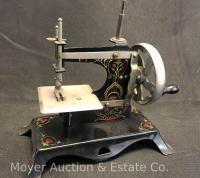 "German Pressed Steel Childs Sewing Machine, 7""tall"