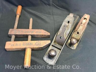2 Hand Planes and a Wood Clamp; Bailey No.6 plane, Craftsman plane, clamp marked Hayden Co.