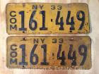Pair of 1933 NYS Commercial License Plates 161-449, paint flaking & rusty