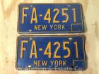 Pair of 1970's NYS License Plates FA-4251, one is exc. condition & other is good with bends & scratches
