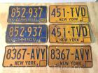 3 Pairs of 1970's/'80's NYS License Plates, all are bent & w/wear