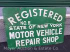 "Green Metal Sign: 'NYS Registered Motor Vehicle Repair Shop', double sided, 24""x36"""