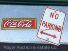 2 Signs: Aluminum 'No Parking' road sign & porcelain 'Coca Cola' 1989 reproduction