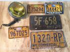 3 NY Motorcycle License Plates, Plate Frame, 1-1957 License Plate, & Amber Glass Lensed Light