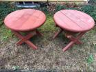 "Pair of Outdoor Round Wood End Tables, 26""wide x 22""tall"