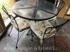 "5pc. Patio Set: Round Glass-Top Table with 4 Chairs, metal base, table is 42""wide x 30""tall"
