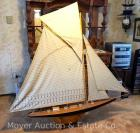 "Large Sailboat Model, 68""long, 64""tall, great condition with some staining on sails. Beautiful ship"