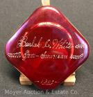 "Square Ruby-flashed Glass Pan-American Exposition 1901 Souvenir Paper Weight, personalized ""Beulah D. White"", 3""x 3""wide"